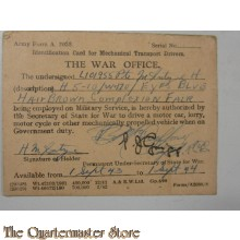 Identification card for Mecanical Trasport drivers 1 sept 43-44