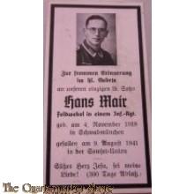 In Memoriam Karte/Death notice 1941 feldwebel Inf Reg