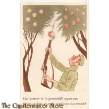 Prent briefkaart mobilisatie 1939 appels plukken