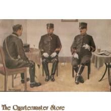 Prent briefkaart mobilisatie 1939 zittende off tek