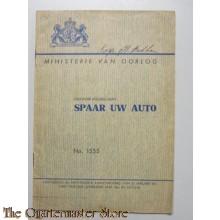 Ontwerp Voorschrift no 1555 Spaar uw auto 1947