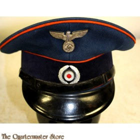 360fb4ffec5669 A dark navy blue wool construction visor cap, featuring a one-piece  circular crown, piped in orange and whose internal stiffening wire is still  intact, ...
